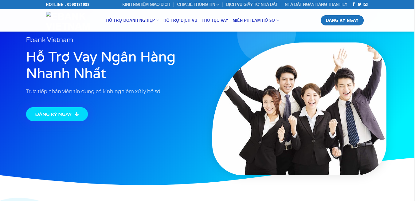 Website dịch vụ ebankvietnam.net - Web wordpress