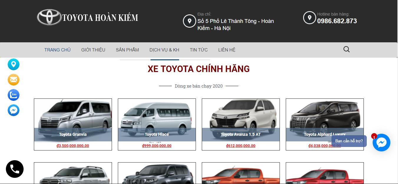 Web bán ô tô toyotahoankiem3s.com - Web wordpress